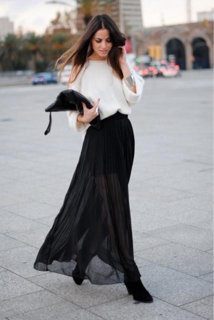 comment décliner la jupe longue noire