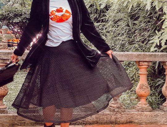 le blazer velours noir LAURA KENT et la jupe filet à maille qui tourne !